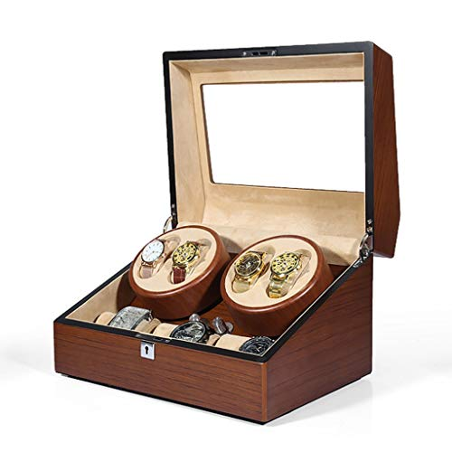 LAMZH Uhrenbox Uhrenbeweger Automatikuhren Klavierfarbe Holz Netzadapter, Watch Winder Batterie Aufbewahrungsbox Organizer Box Uhr Display Aufbewahrungsbox (Color : 4+6)