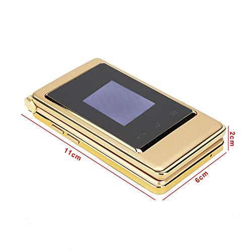 Teléfono celular con doble SIM, teléfono con tapa con pantalla táctil Botón grande Diseño con tapa para teléfono 2G para personas mayores para llamar y comunicarse(European regulations, transparency)