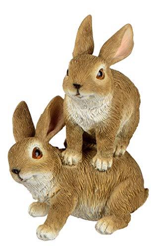 dekojohnson - Decorazione da Giardino a Forma di Coniglio, 2 Coniglietti pasquali, 16 cm, Colore: Marrone