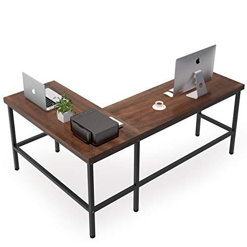 Tribesigns Solid Wood L-Shaped Desk, Rustic Corner Computer Desk, PC Laptop Desk...