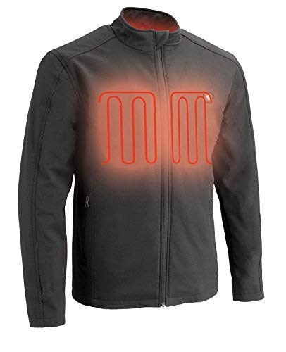 Milwaukee Performance-Men's Zipper Front Heated Soft Shell Jacket w/Front & Back Heating Elements includes portable battery pack-BLACK-3X 1762
