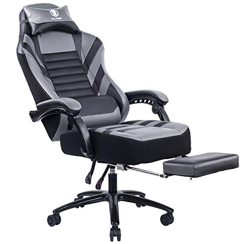 KILLABEE Big & Tall 400lb Massage Memory Foam Reclining Gaming Chair Metal Base - Adjustable Back Angle and Retractable Footrest Ergonomic High-Back Leather Racing Computer Desk Office Chair, Gray