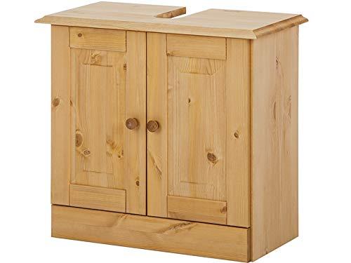 Loft24 A/S Unterschrank Waschbeckenunterschrank Unterschrank Badschrank Badmöbel Kiefer Massivhvolz 60x30x55 cm 2 Türen (gebeizt geölt)