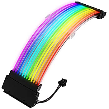 Pccooler Power Supply Sleeved Cable 24 Pin ATX RGB Cable Extension Kit 5V 3Pin Synchronized Sleeved Cable for RGB Software from All Major Motherboard Cable Management