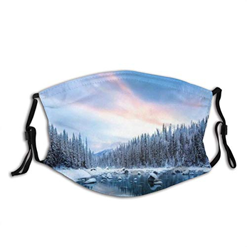 Nature Pine Tree Forest And Snowy Mountain Lake Blue Sky Winter Season Landscape ArtUnisex Anti Dust Cotton Mouth Mask, Washable, Reusable-10 Filters