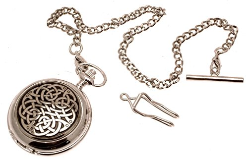 Engraving included - Solid Pewter fronted quartz pocket watch - Celtic knot design