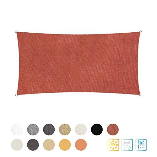 Lumaland Sonnensegel inkl. Befestigungsseile, 2 x 4 m Rechteck 100% HDPE mit Stabilisator für UV Schutz Terracotta