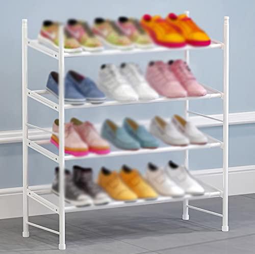 LYYJF Zapatero Rack de Zapatos de 4 Pisos. Estante de Almacenamiento de Rack de Zapatos de 110cm de Ancho. Puede acomodar hasta 12 Pares,Blanco