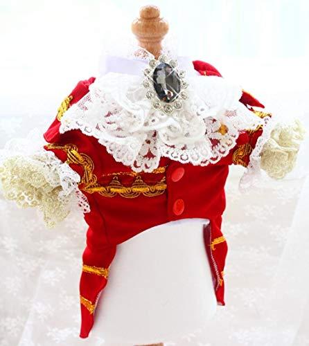 Hondenkattenkleding Franse dynastie goud borduurgaren kanten manchetten nobele prins overhemdjurk huisdier Teddy-rood_XXL borstomvang 51 cm