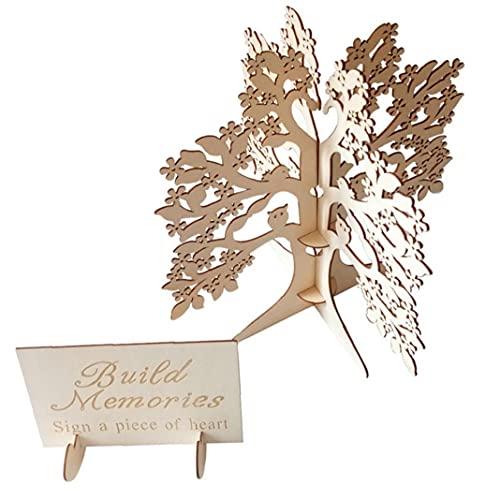 Hölzerne Hochzeit Wishing Tree Hochzeit Gästebuch aus Holz Herzen Holz-Baum-Rahmen Gästebuch Baum für die Trauung