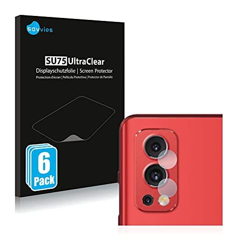 Savvies 6X Schutzfolie kompatibel mit OnePlus Nord 2 (NUR Kamera) Bildschirmschutz-Folie Ultra-transparent