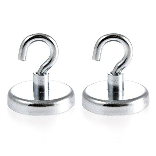 Magnetastico® | 2 Stück Neodym N35 Magnethaken 36 mm Ø | Haftkraft 41.0 Kilogramm | Wandhaken, Deckenhaken | 2 Stück super Starke Neodymium Hakenmagnete verzinkt