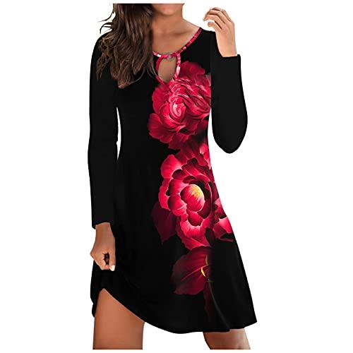 Briskorry Sommerkleid Damen Knielang, Sexy V Ausschnitt Kleid Lockeres Strandkleid Damen Sommer Kurzarm Druckkleider Lässiges Urlaub Kleider