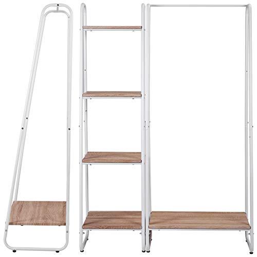 Kleiderständer Wäscheständer Kleiderschrank mit Ablage Schuhregal aus Holz und Stahl, Weiß + Hell Eiche