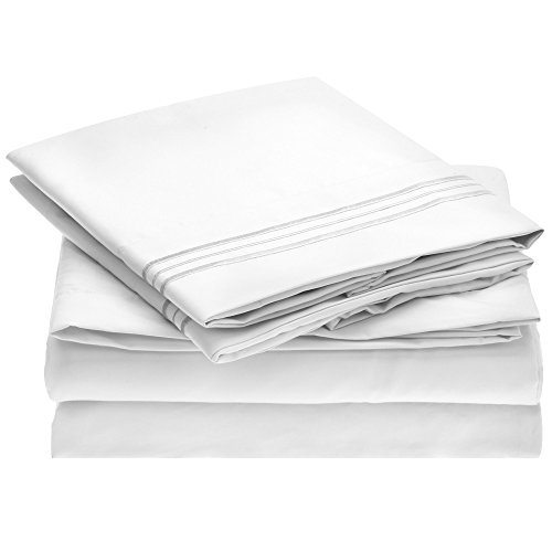 Ideal Linens Bed Sheet Set - 1800 Double Brushed Microfiber Bedding - 4 Piece (King, White)