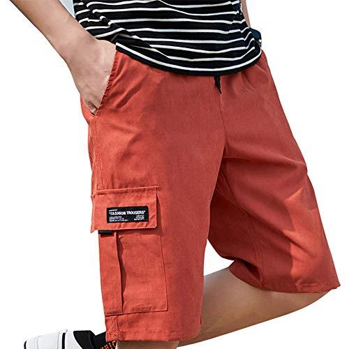 SADF Pantalones Cortos De Verano De Color Naranja, Pantalones Casuales Finos Para Hombres, Pantalones Sueltos De Playa