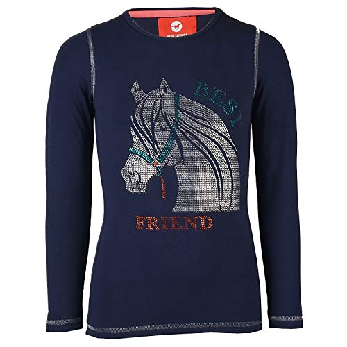 Rood Paard Meisjes Junior Flash Shirt Met Glitter Stenen Outdoor Fashion Tops