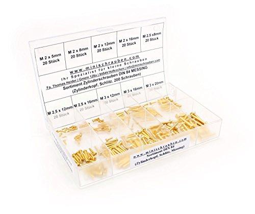 Sortimentskasten mit 200 Stück kleinen Zylinderschrauben nach DIN 84 aus Messing (M2, M2,5 und M3), Schlitz, Zylinderkopf. Minischrauben Sortiment inkl. beschrifteter Box