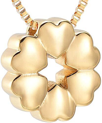 Gymqian Collar de Creión de la Urna de la Creión para Las Mujeres Encantador Corazón Flor Recuerdo Urna Colgante 1Pcs Oro Moda