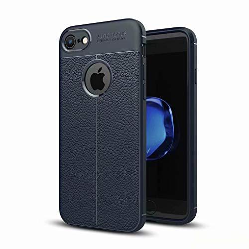 NiaCoCo Kompatibel mit iPhone 7Plus/8Plus Hülle Hauttextur Weiches TPU Dünn Handyhülle Rutschfester Anti-Fingerabdruck Erdbebenresistenz Anti-Fall Telefonkasten+1*(Gratis Handyhalter)-Blau