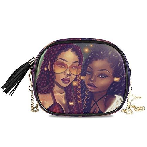 Mdsfe Bags Chain women's crossbody Shoulder bag Afro Girls Black Women PU Leather handbag Messenger Bag Small Square Bags - 15