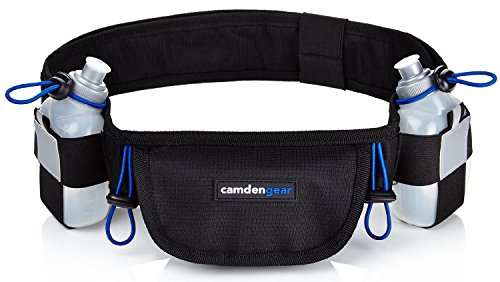 Running Belt For Phone, Running Fanny Pack, Black, 2 Bottle Pack by Camden Gear