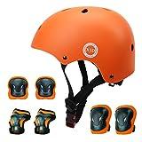 XJD ヘルメット こども用 キッズプロテクターセット 調節可能 軽量 高剛性 通気性 スケボー サイクリング 保護用 子供 自転車 プロテクター 巾着袋付き (オレンジ, M:55~57cm)