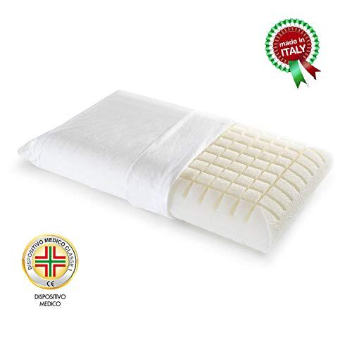 Goldflex Guanciale Dry Feel New Ergo, Cuscino Schiumato Ergonomico Ultra Traspirante Ideale per Chi Suda Lavabile in Lavatrice Dispositivo Medico Detraibile Anallergico Antiacaro Antibatterico