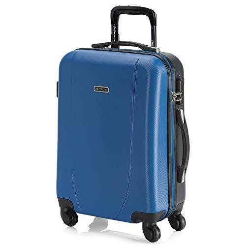 ITACA - Maleta Cabina de Viaje Rígida 4 Ruedas Trolley 55 cm ABS. Equipaje de Mano. Pequeña Práctica Cómoda y Ligera Low Cost Ryanair, Estudiante. 71150, Color Azul-Antracita