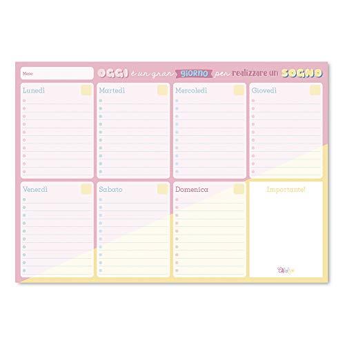 Erik - Planning da Tavolo Carouge, Con Planner Settimanale e 54 Fogli a Strappo, Agenda Appuntamenti