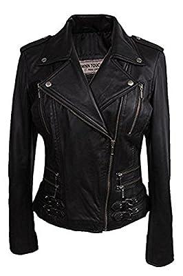 BRANDSLOCK Ladies Vintage Rock Real Leather Black Fitted Bikers Style Jacket (XL, Black) from