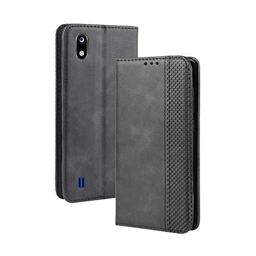 LAGUI Handyhülle für ZTE Blade A7 2019, Leder Flip Case Schutzhülle für Handy mit Kartenfach Stand und Magnet Funktion als Brieftasche Kompatible with ZTE Blade A7 2019, schwarz