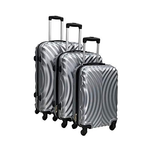 Totò Piccinni Set Valigie Trolley Ibiza con guscio rigido di ottima qualità con 4 rotelle pivotanti (Silver, Set 3 Valigie)