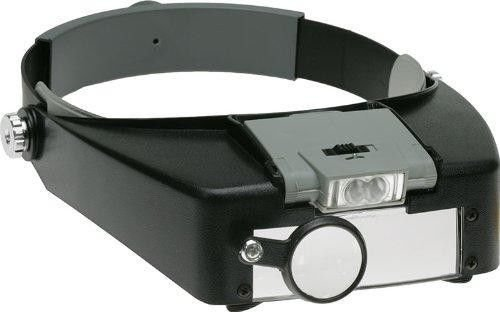 Jewelry Headband Magnifying Glass Lens LED Light Lamp Visor Head Loupe Magnifier