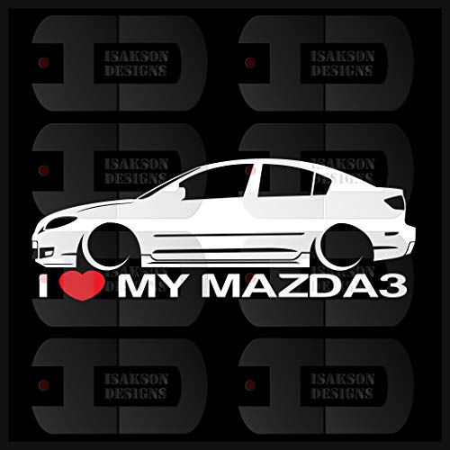 Isakson Designs I Heart My Mazda 3 Sticker Love Slammed JDM Japan Speed Low Stance Sedan BK Gen1