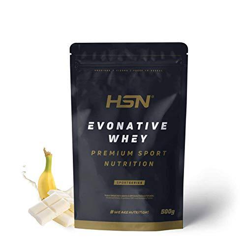 Proteína de Suero Leche Nativa Evonative de HSN   Native Whey Protein   Materia Prima de Máxima Calidad   Vegetariano, Sin Gluten, Sin Soja, Sabor Chocolate Blanco Banana, 500g