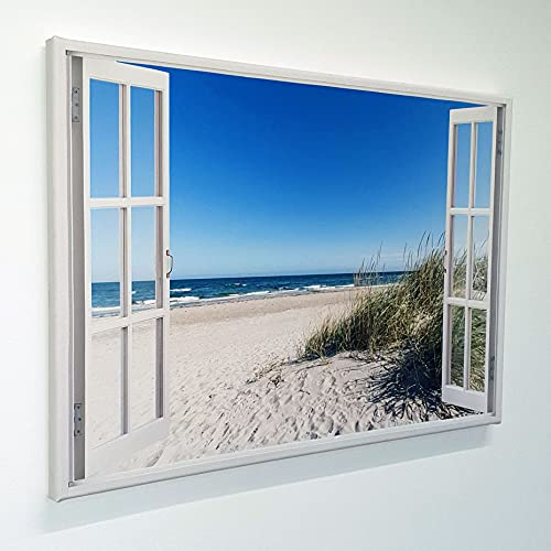 Leinwand mit Fensterblick - Druck auf Canvas Leinwand - moderner Kunstdruck - XXL Wandbild – Fenster mit Ausblick - Keilrahmen mit Druck (Ostsee Strand, 120 x 80 cm)