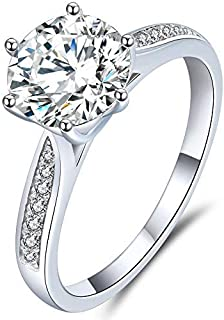 Handmade Engagement Rings for Women,18K Platinum Moissanite Diamond Promise Rings,D Color VVS1 Clarity, Anniversary Weddin...
