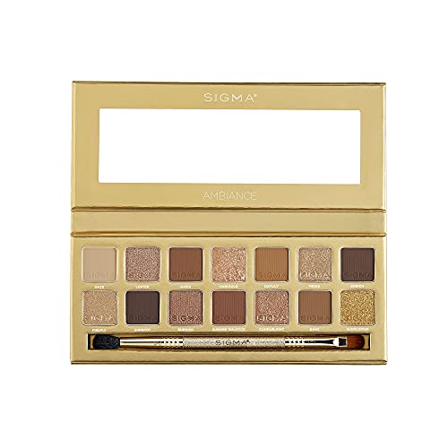 Sigma Beauty Ambiance Eyeshadow Palette | Luminous, Neutral and Gold Shades | Summer Vibes, Mirror Included