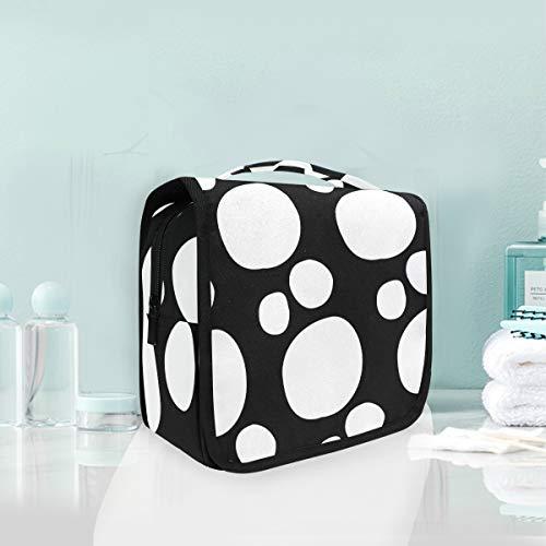 Trousse de toilette de voyage à suspendre Trousse de toilette Art Polka Dot Noir Blanc Sac de rangement de voyage Portable Maquillage Pochette Sac Organizer Case pour femmes