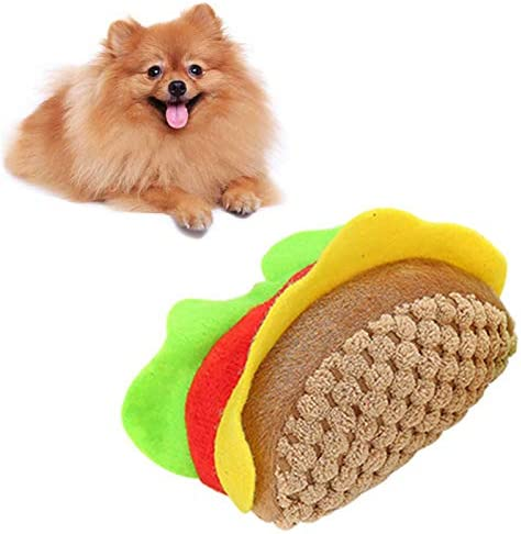 Gilroy Dog Squeaky Chew Toys Durable Interactive Hamburger Shape Plush Bite Toy for Teeth Cleaning product image