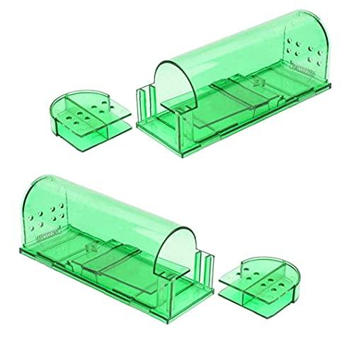 Trampas de ratón Cause Roedor Trampa práctica Fácil conjunto de plástico Ratón Trampa interior al aire libre para al aire libre para pequeños voles de roedores Mouse 2pcs Verde, Jardín Herramientas