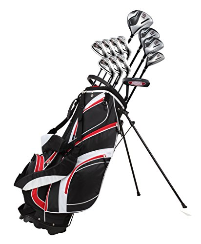 18 Piece Men's Complete Golf Club Package Set With Titanium Driver, #3 & #5 Fairway Woods, #4 Hybrid, 5-SW Irons, Putter, Stand Bag, 4 H/C's (Red, Tall Size +1