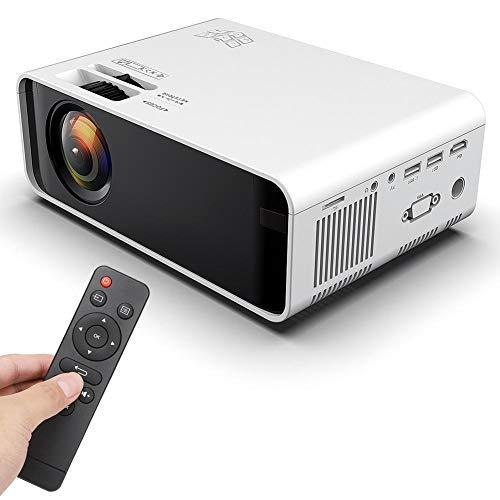 Junlucki Mini Proyector de Bolsillo, Proyector LED Portátil HD 1280x720, Proyector de Video con Control Remoto Proyector de Películas Multimedia para Computadora y Teléfono Inteligente (110-240V)(EU)