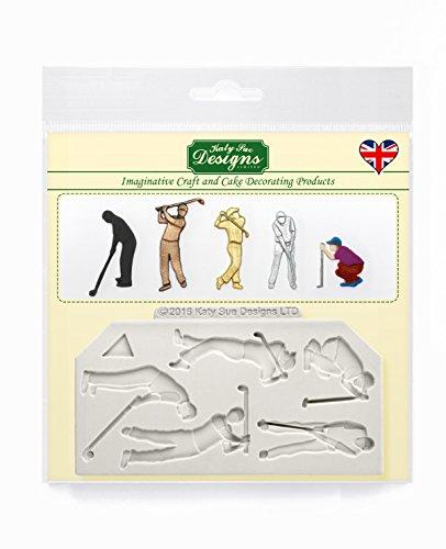 Golfer Silhouettes Silikon-Form für Kuchen Dekorationen, Cupcakes, Zucker, Bonbons, Karten und Ton, Lebensmittel sicher