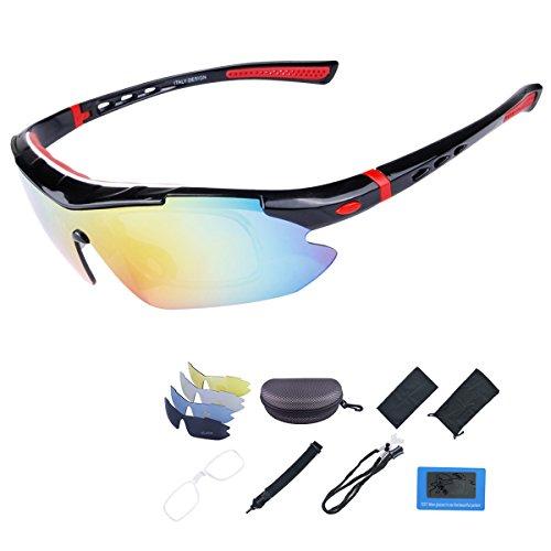 ShareWe Sportbrille Polarisierte Sonnenbrille Unisex Radbrille UV-Schutz Fahrradbrille mit 4 Wechselgläser für Radfahren Fahren Golf Baseball Volleyball Fischen (Schwarz + Rot)