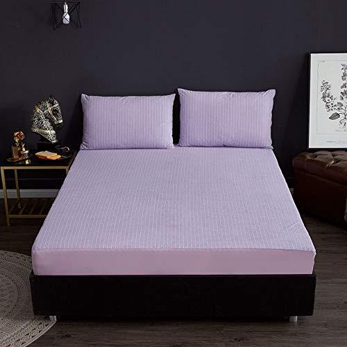 ABUKJM Funda de colchón impermeable de rizo de algodón, protector de colchón a rayas, transpirable, sábana bajera ajustable antiácaros (AC03, 90 x 200 x 30 cm)