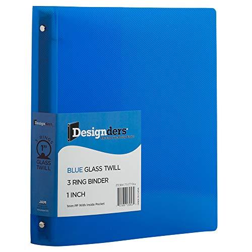 JAM PAPER Plastic 1 inch Binder - Blue 3 Ring Binder - Sold Individually