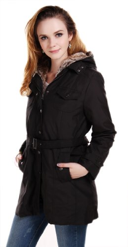 SGG Winter Warm Fur Jacket Wrap Trench Coat Hooded Womens