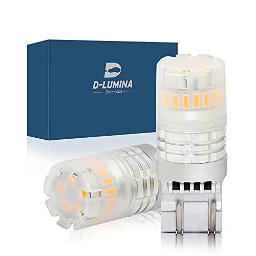 Lámpara LED de 2 piezas, Canbus sin error, sin polaridad, IP67 a prueba de agua, iluminación de 360 ° (T20 7443 7440, Naranja)